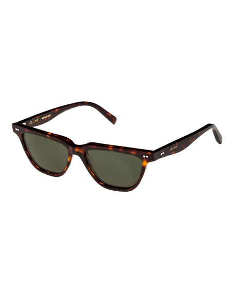 Cat-Eye Monochromatic Acetate Sunglasses, Dark Brown