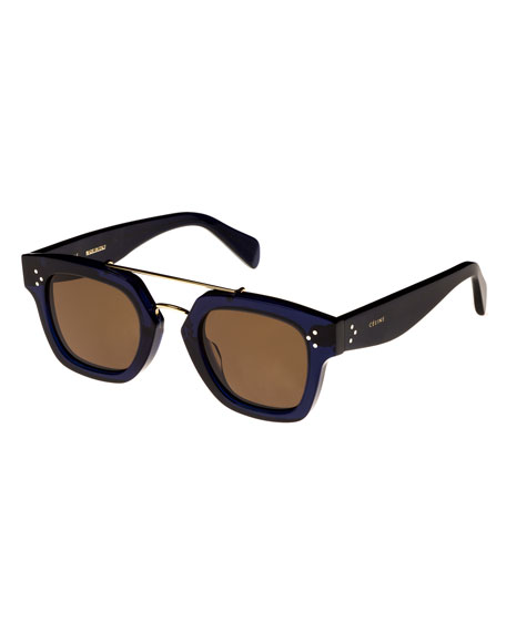 Square Monochromatic Acetate & Metal Sunglasses, Blue Pattern