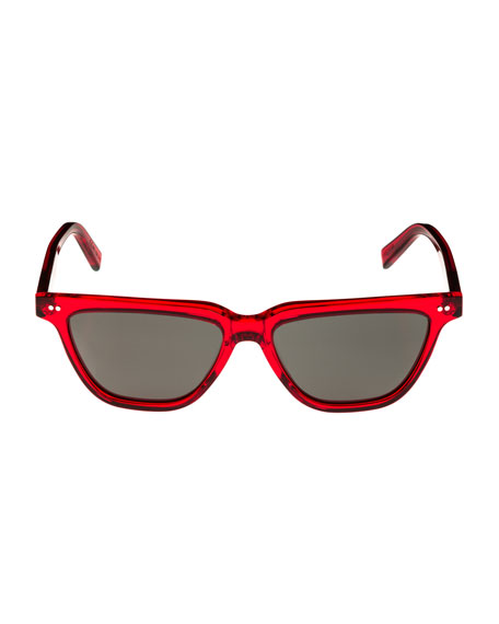 Cat-Eye Monochromatic Acetate Sunglasses, Red Pattern