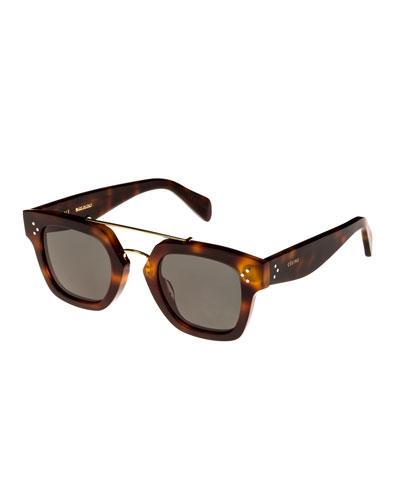 Square Monochromatic Acetate & Metal Sunglasses, Brown Pattern
