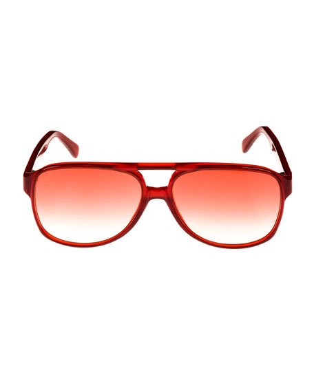 Gradient Acetate Aviator Sunglasses, Red Metallic