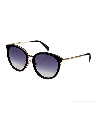 Round Acetate & Metal Gradient Sunglasses, Black