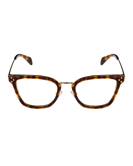 Square Acetate & Metal Optical Frames, Light Brown