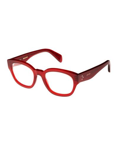 Rectangle Acetate Optical Frames, Light Red