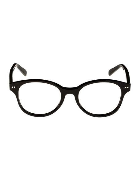 Round Acetate Optical Frames, Black