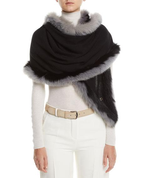 Oval Cashmere Shawl w/ Fur Trim