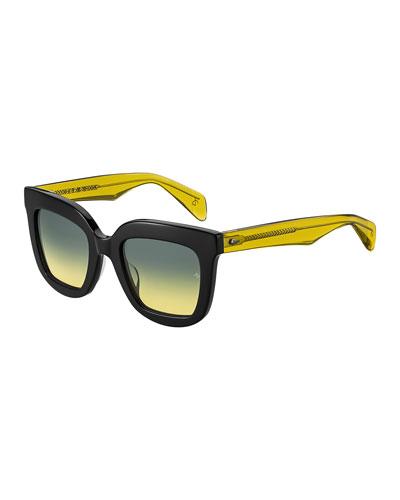 Two-Tone Square Mirrored Sunglasses