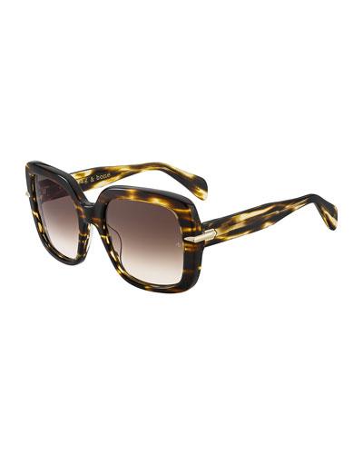 Square Gradient Acetate Sunglasses w/ Metal Trim