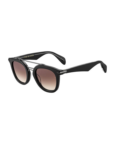 Acetate & Metal Round Gradient Sunglasses