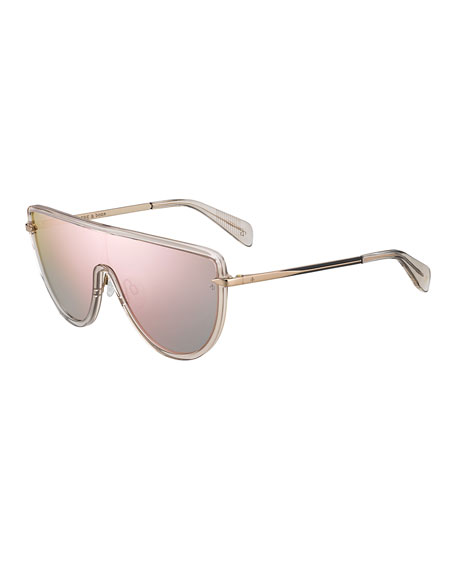 Acetate & Metal Mirrored Shield Sunglasses