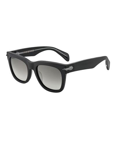 Polarized Round Acetate Sunglasses w/ Metal Trim