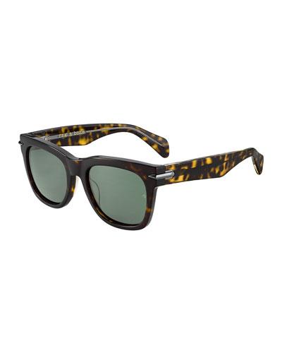 Round Acetate Sunglasses w/ Metal Trim
