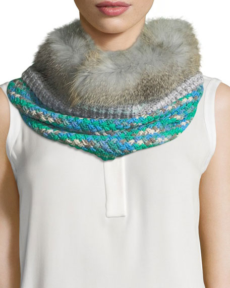 Knit Neck Warmer w/ Fur Trim