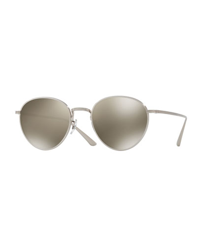 Brownstone Mirrored Round Titanium Sunglasses