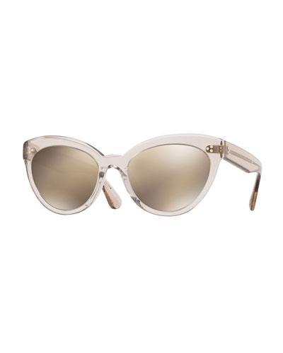 Roella Mirrored Translucent Plastic Cat-Eye Sunglasses