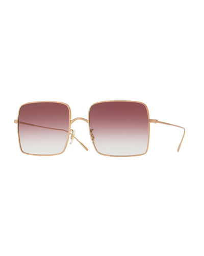Rassine Square Gradient Sunglasses, Rose Gold