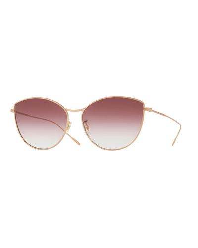 Rayette Vintage-Inspired Metal Cat-Eye Sunglasses, Rose Gold