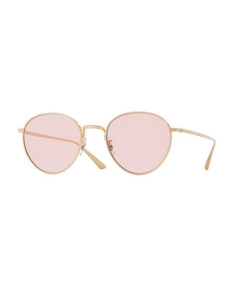Oliver Peoples Brownstone Photochromic Round Titanium Sunglasses