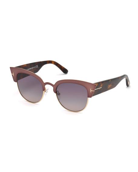 TOM FORD Alexandra Semi-Rimless Rectangle Sunglasses