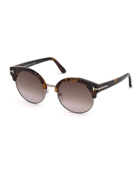 TOM FORD Alissa Semi-Rimless Round Sunglasses
