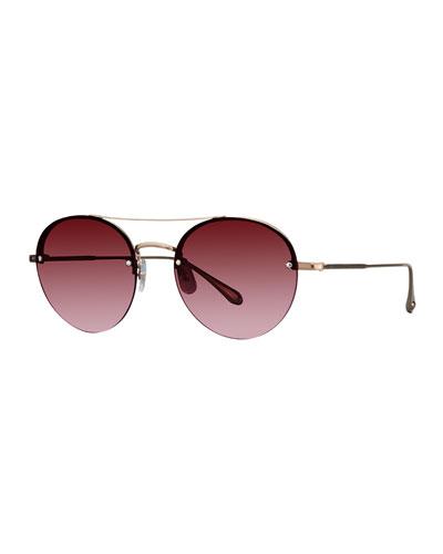 Beaumont Semi-Rimless Round Sunglasses
