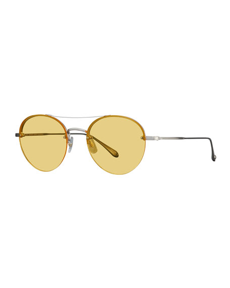 Garrett Leight Beaumont Rounded Semi-Rimless Sunglasses