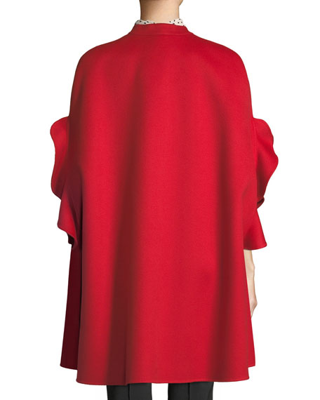 Ruffle-Sleeve Open-Front Wool-Cashmere Coat