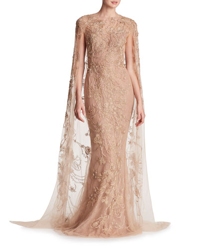 Metallic-Embroidered Floor-Length Cape