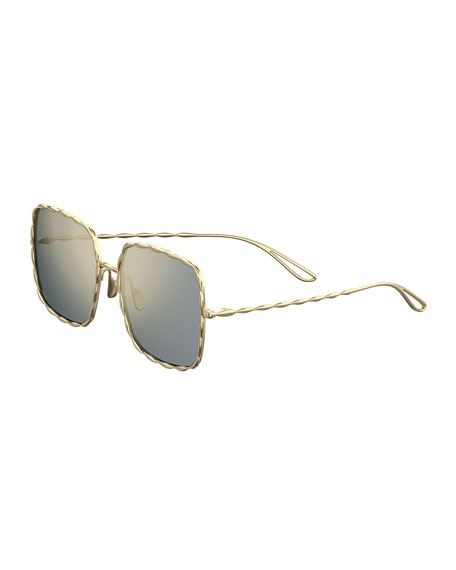 Image 1 of 1: Mirrored Square Gold-Plated Sunglasses