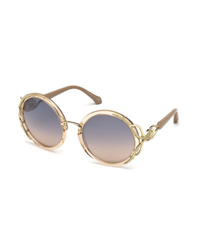 Round Semi-Transparent Acetate Sunglasses