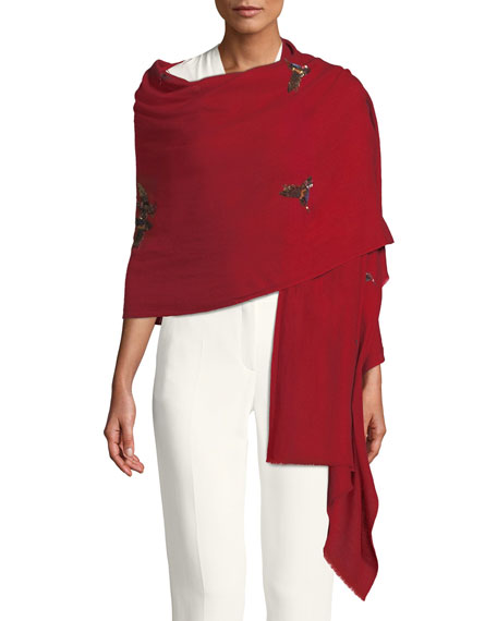 HAPPY HUMMING BIRDS CASHMERE SCARF