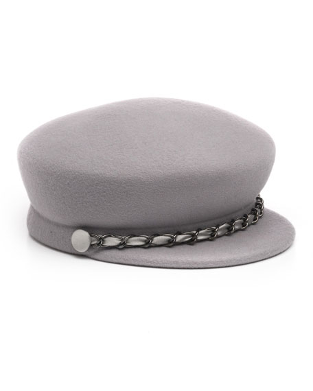 Eugenia Kim Sabrina Wool Newsboy Hat w/ Gunmetal