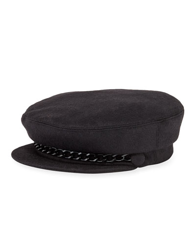 Marina Cashmere Newsboy Hat with Chain Detail