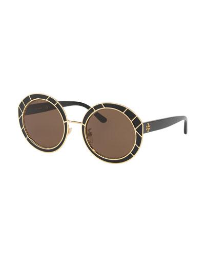 Round Double-T Metal Sunglasses