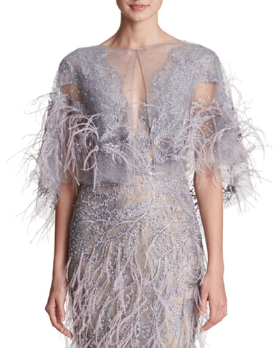 Beaded-Embellished & Feather Evening Gown w/ Illusion Tulle Cape