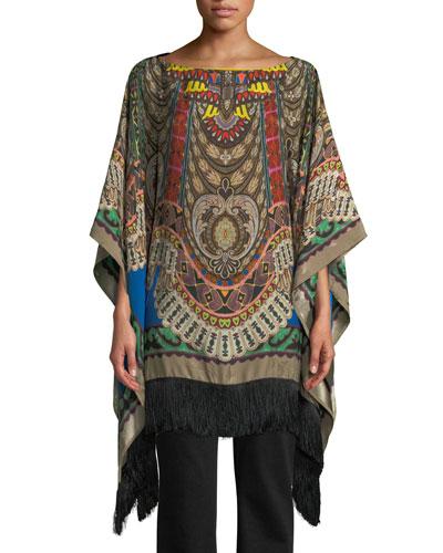 Boat-Neck Dream-Catcher Print Silk Tunic w/ Fringe