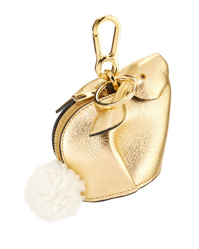 Metallic Leather Bunny Coin Purse w/ Fur Pompom
