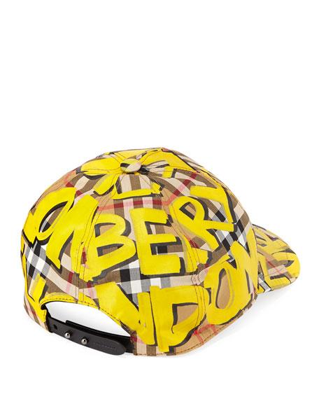 6d2899eebaf Burberry Graffiti Marker Logo Check Baseball Cap