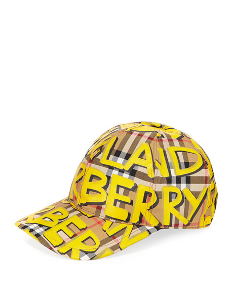 7e0a3bdf828d0 Burberry Graffiti Marker Logo Check Baseball Cap