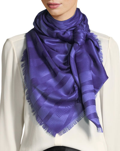 Zebra Jacquard Silk/Wool Scarf