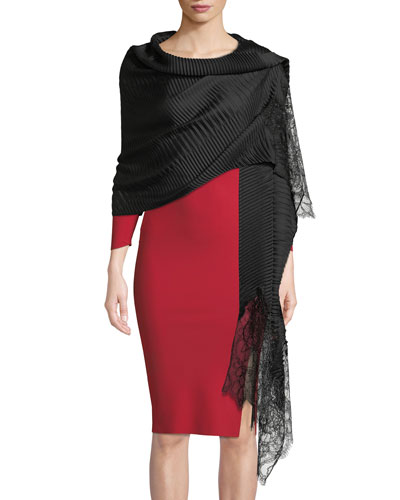 Silk Plisse Lace-Trim Stole