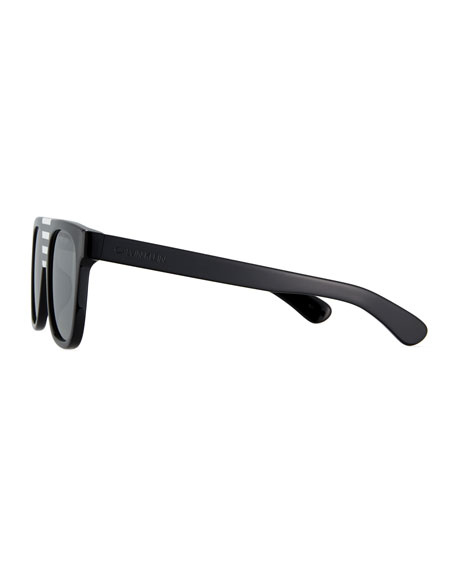 Flattop Acetate Mirrored Sunglasses w/ Contrast Striped Nose Bridge