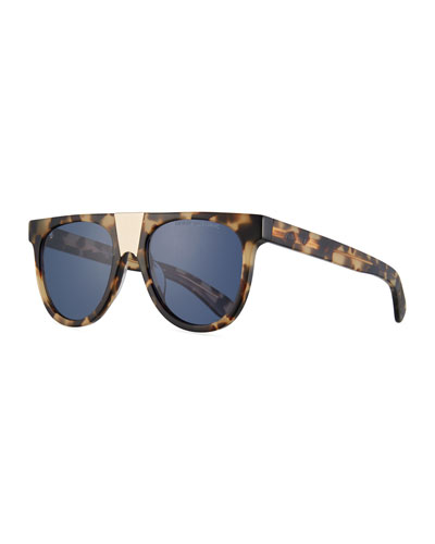 Flattop Acetate Sunglasses w/ Contrast Metal Nose Bridge