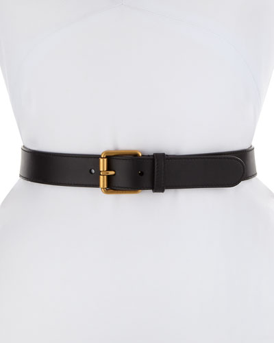 Leather Square-Buckle Horsebit Belt