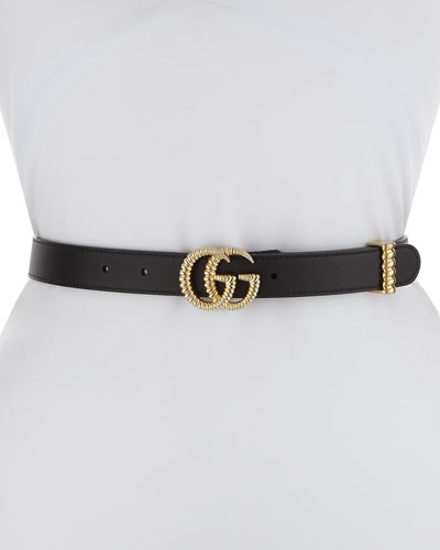 Moon Leather Belt w/ Textured GG Buckle  1W