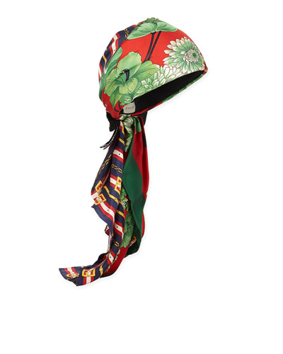GG Belts & Spring Bouquet Printed Silk Twill Turban