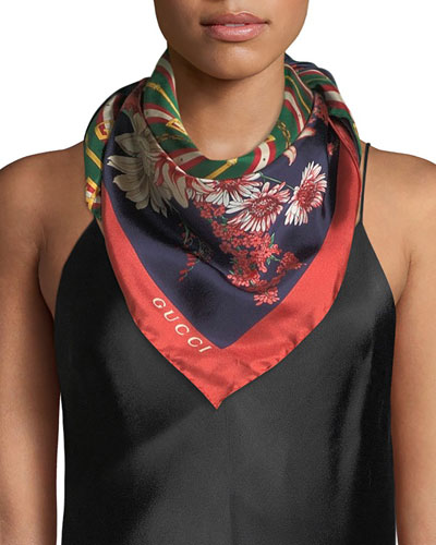 GG Chain & Bouquet Print Silk Scarf