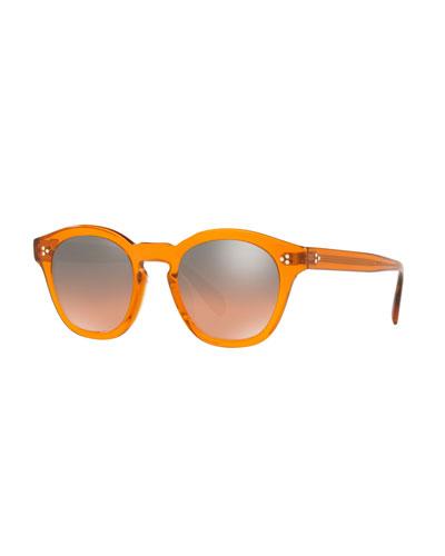 Boudreau L.A. Mirrored Round Acetate Sunglasses