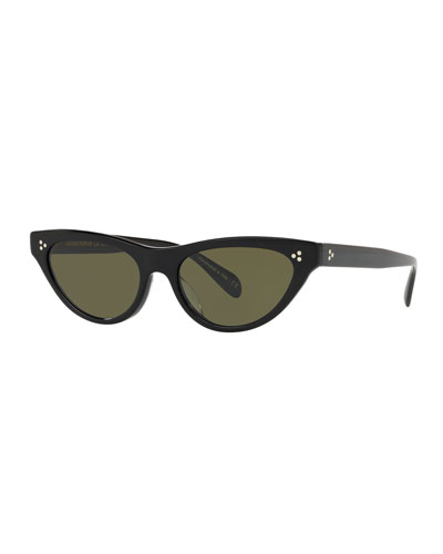 Zasia Cat-Eye Acetate Sunglasses w/ Inlaid Studs