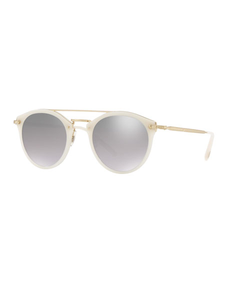 8a7ed53a3e3 Oliver Peoples Remick Mirrored Acetate   Metal Sunglasses